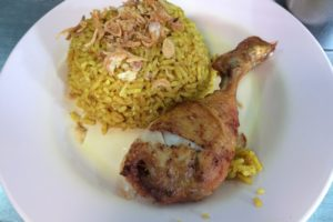 Curry rice with boiled chicken